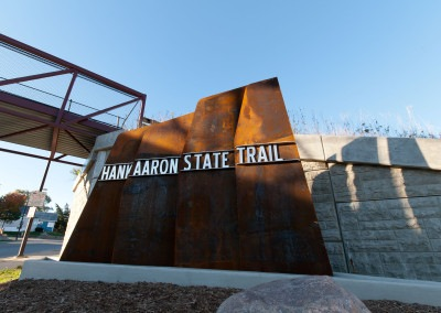 Han Aaron State Trail Monument Sign from Below